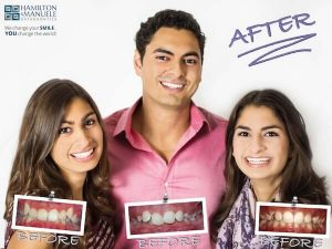 a father and his two daughters before and after treatment