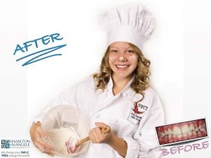 young female chef before and after treatment